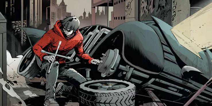 Jason Todd and Batmobile