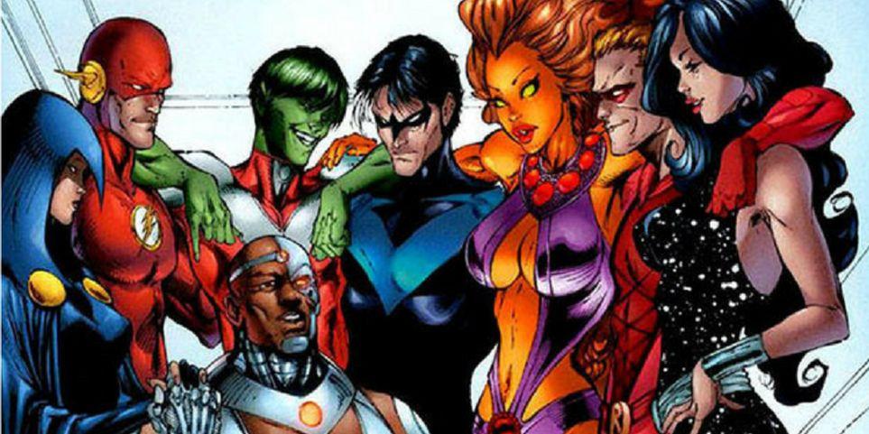 Raven-Flash-Wally-West-Beast-Boy-Cyborg-Nightwing-Dick-Grayson-Starfire-Arsenal-Troia